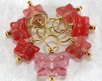 Pink Butterflies - Droplet Stitch Markers (set of 7)