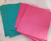 100 6x9 Hot Pink and Teal Paper Merchandise Bags, Party Favor Gift Bags, Retail Bags, Gift Bags, Lime Green Wedding Bags, Bridal Bags,