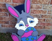 Grey Bunny with Easter Egg