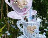 Cuppa Tea Mrs... personalised vintage style teacup, dressing table decoration for keeping accessories handy. NEW COLOUR available.