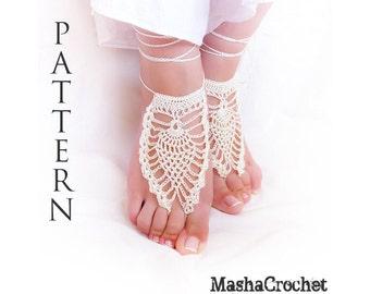 Barefoot sandal crochet pattern  Pineapple motif   (pdf file). Craft supplies  Bridal leg accessories Beach crochet DIY wedding