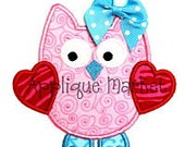 Personalized, appliqued Valentine's Owl with heart wings and bow tshirt or onesie.