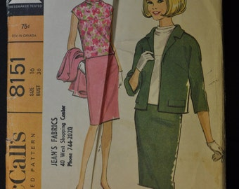 Misses' Jacket, Skirt and Blouse Size 16 Bust 36 Uncut  Vintage 1960s Sewing Pattern McCall's 8151