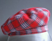 Red Grey Checked Sewn Beret Size 57 cm