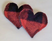 Hand Warmers - Red Plaid Felted Wool - Eco Friendly - Hearts