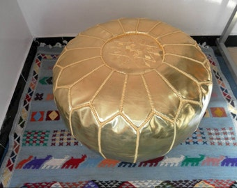 Gold color Faux leather MOROCCAN POUF :hand stitched / embroidered