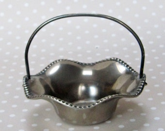 Vintage Silver Plated Fluted Edged Candy Dish with Handle by Grenadier of England - Kath