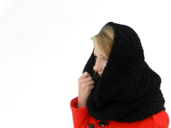 Black Infinity Scarf - Hand Knitted infinity scarf - Knit infinity scarf - Hand Knitted Tube scarf - Circle Scarf