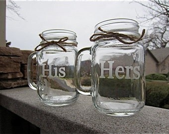 Mason Jar Mugs, His Hers Mason Jar Mug Set, Weddings