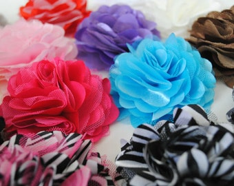 "GRAB BAG - Set of 10 - Satin & Tulle Flower Puffs - 3"" Flower Puffs - Random Mix of Colors / Prints"