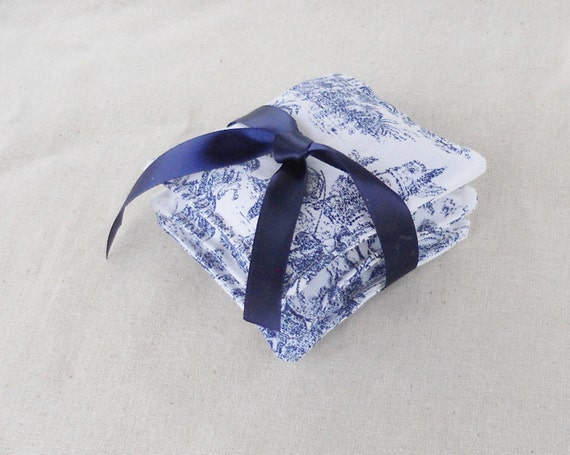 Blue and White Toile' Lavender Sachets - Set of 3 - Shabby Chic, Dryer Bags,  Herbal, Wedding Gifts, Stocking Stuffer, College , Pillows