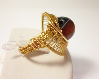 chunky wire wrapped beaded gold ring genuine Agate