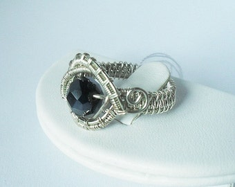 """Wire wrapped silver black beaded ring """"Evil Eye"""""""