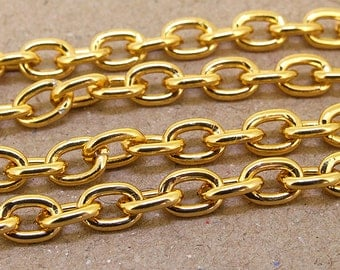 """O Circle Gold Plated Chunky o  Metalic Aluminium  Curb Chain ----- 8mmx 10mm---thickness about 1.8mm----38"""""""