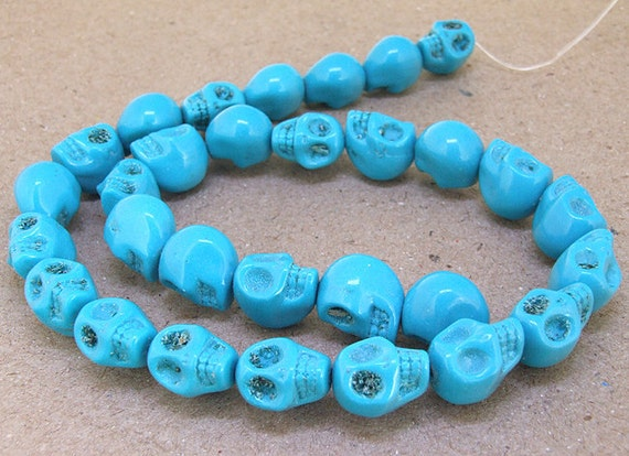 One Full Strand--- Blue Skull Turquoise Beads----12mmx13mm ----about 28 Pieces----15.5inch strand