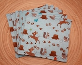 Reusable Cloth Napkin- Woodland, set of 6, Back to school, Eco-friendly, Picnic