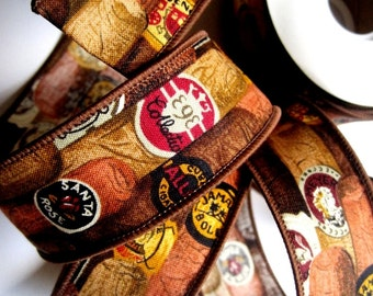"""REMNANT - Tobacco Cigars Cotton Wired Ribbon Trim, Brown, 1 3/8"""" inch, For Gift Packing, Mixed Media, Wreaths, Center Pieces, Home Decor"""