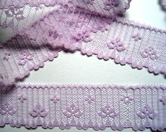 "Scalloped Romantic Lace,  Lavender, 1 1/2"" inch wide, 1 yard, For Dolls, Scrapbook, Mixed Media, Home Decor, Apparel, Crafted Gifts"