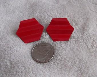 Vtg Clip On Earrings-Red Hexagons-C1531