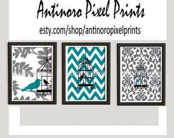 Bird Cage Art Turquoise Grey White  Vintage / Modern inspired Prints  -Set of (3) - 8 x 10 Prints - Chevron (UNFRAMED)