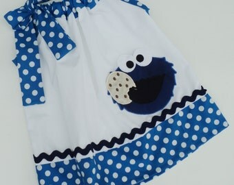 Custom Boutique Cookie Monster Inspired Pillowcase Dress