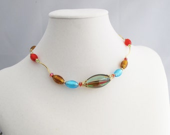 Venetian Glass Ovals with Gold-Filled S-Curve Links Choker-Length Adjustable Necklace