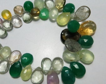 42 Pieces Lot Gorgeous Supper Top  Quality Natural Stone Mix Semi Precious Stone Micro Faceted Pears Shape Briolett