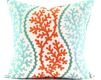 Pillow Cover - P Kaufmann Coral Splendor Stripe Coral Fabric - Aqua, Orange and White - Same Fabric BOTH Sides - Pick Your Size
