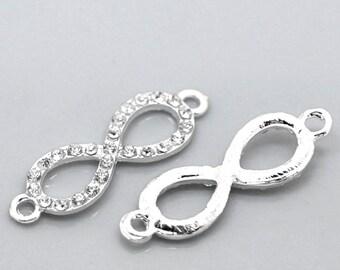 """10 Silver Plated Infinity Rhinestone Connector Charm - Crystal Rhinestones - 33mm x 10mm (1 2/8"""" x 3/8"""") (B20856)"""