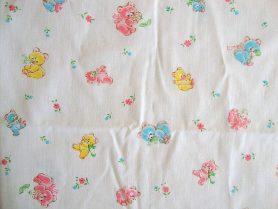 Vintage 80s teddy bear fabric pink and baby blue yellow for Cute baby fabric prints