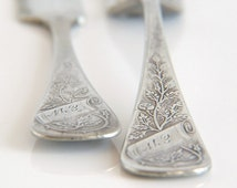 Victorian Antique Silverplate Fork and Knife by 1880 Pairpoint MFG Co 2 - Flowers Leaves Monogrammed Fork Knife