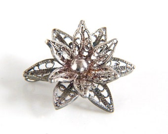 Sterling Silver Filigree Flower Brooch - Vintage Flower Pin