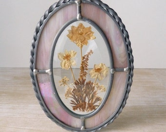 Vintage Stained Glass and Dried Flowers Oval Art - Glass Flowers Suncatcher in Pink - Carnival Glass Art