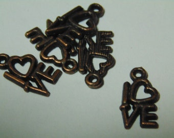 10 antiqued copper LOVE charm, 15 x 8 mm