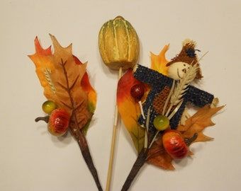 set of 3 fall picks, 10 inches, (HR9)