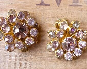Pink Rhinestone Earrings, Faceted Clip-On Cluster Earrings, Vintage Evening Wear