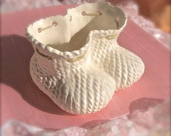 Baby Boot Planter,  White Ceramic Planter,  Vintage Baby Booties,  Baby Shower Gift, Nursery Decor, Reto Bootie Planter