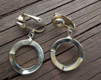 Vintage Kramer Earrings, Signed, Patent Pending, Gold Toned Clip On Type