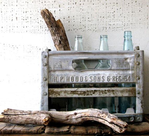 metal milk crate  -- industrial urban farmhouse decor