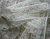 White Sheer Chevron Lace with Delicate Light Blue Flowers - Delicate Lingerie Edging - Baby Clothes Lace - Christening Lace - White & Blue