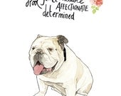 British Bulldog Character Portrait - Double Layer Print