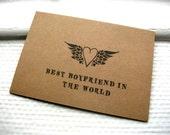 Best Boyfriend In The World - Kraft Card Winged Heart Rockabilly