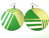 Green Dial Earrings in Green, Cream, and Gold