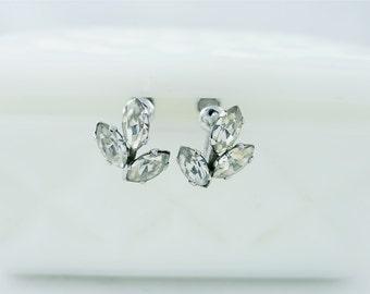 Vintage Van Dell Sterling Silver Rhinestone Floral Earrings - 925 Clear Flower Leaf WE101