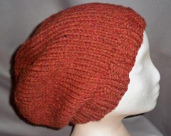 Beanie Beret Slouchy Hat Baggy Tam Cap Hand Knit Men Ski Snowboard Winter Wool Orange