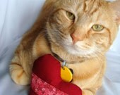 Catnip toy cat heart toy - red heart cat toy - pink flowers catnip toy