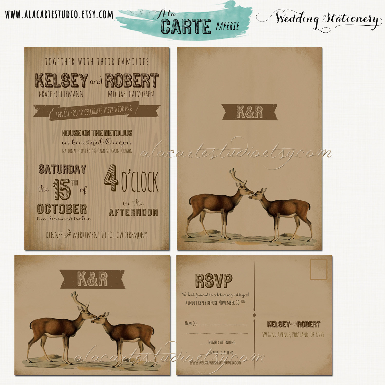 Rustic Woodland Wedding Invitation Rsvp Set Kraft Paper