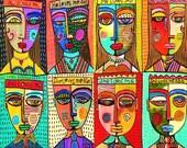 Modern Love** SILBERZWEIG ORIGINAL Art PRINT- Folk, Primitive, Love Me, Love Me Not, Romance, Mexican, Talavera, Frida, Diego, Relationships