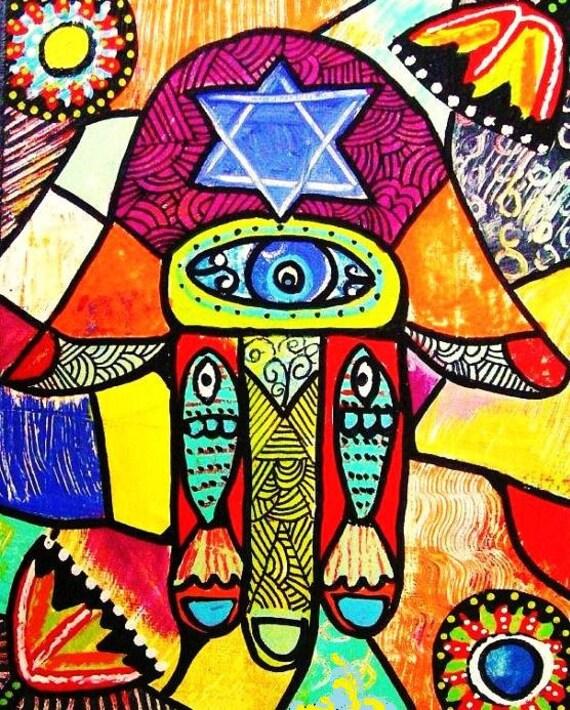 JUDAICA - Red Mosaic Hamsa**-SILBERZWEIG ORIGINAL Art Print- Folk, Boho, Modern, Lucky, Protection, Evil Eye, Star Of David, Fish, Blessings