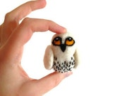 Felted Snowy Owl - Miniature Snowy White Owl Soft Sculpture